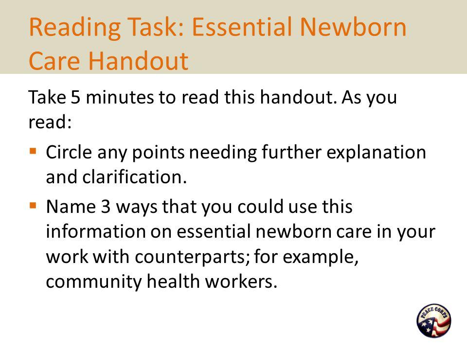 Reading Task: Essential Newborn Care Handout