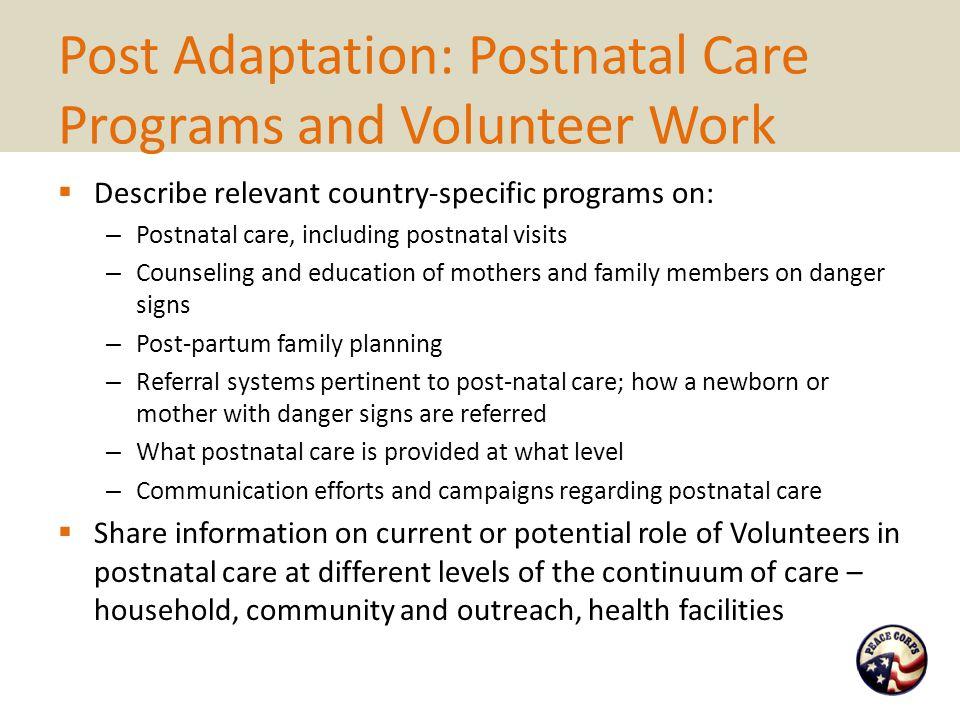 Post Adaptation: Postnatal Care Programs and Volunteer Work