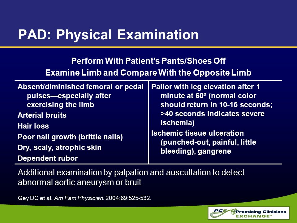 PAD: Physical Examination