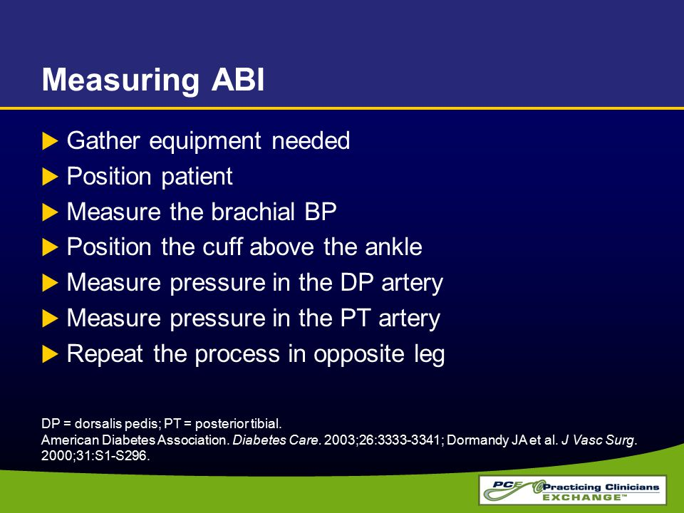 Measuring ABI Gather equipment needed Position patient
