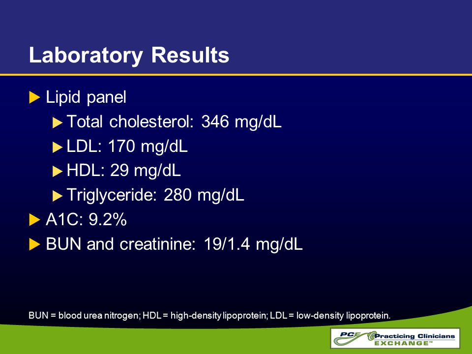 Laboratory Results Lipid panel Total cholesterol: 346 mg/dL