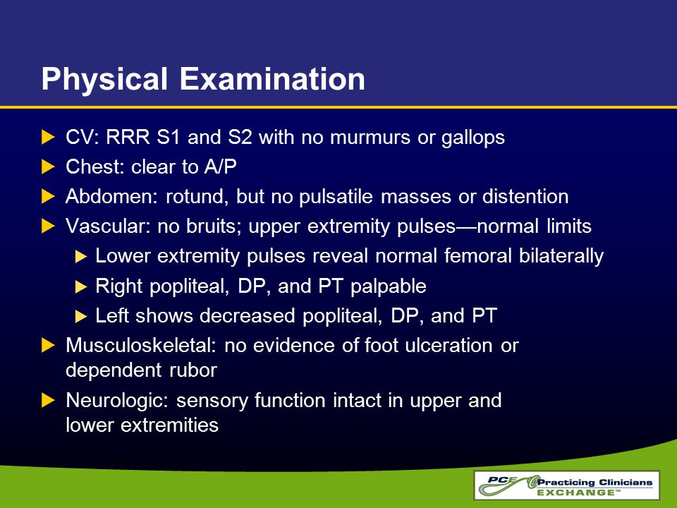 Physical Examination CV: RRR S1 and S2 with no murmurs or gallops