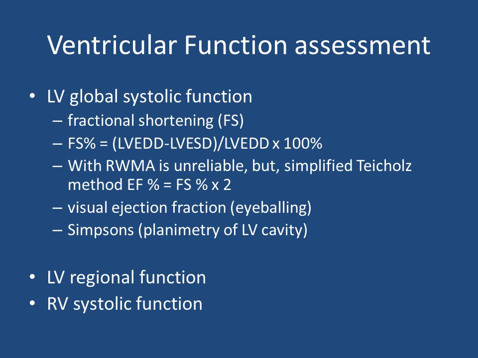 Ventricular Function assessment
