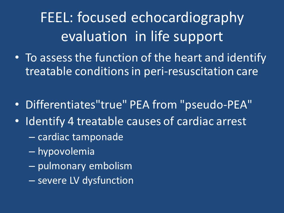 FEEL: focused echocardiography evaluation in life support