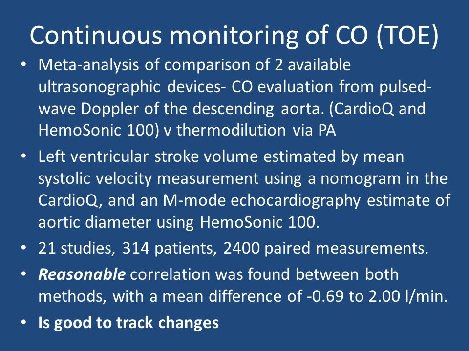 Continuous monitoring of CO (TOE)