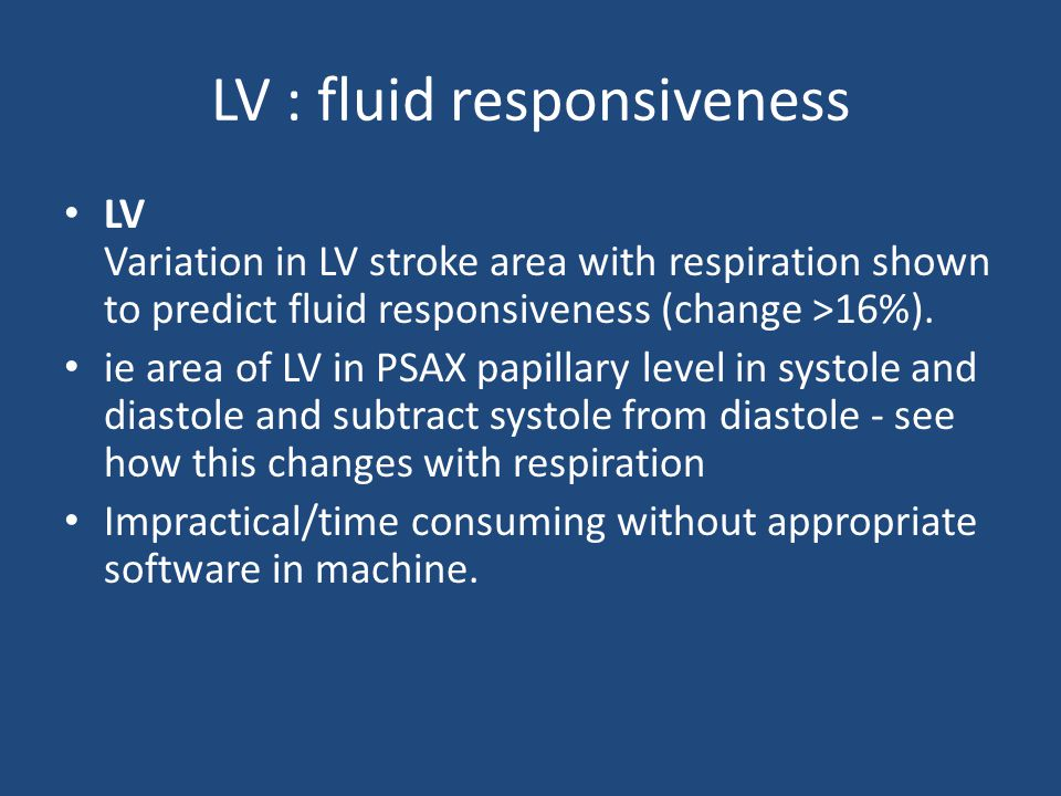 LV : fluid responsiveness