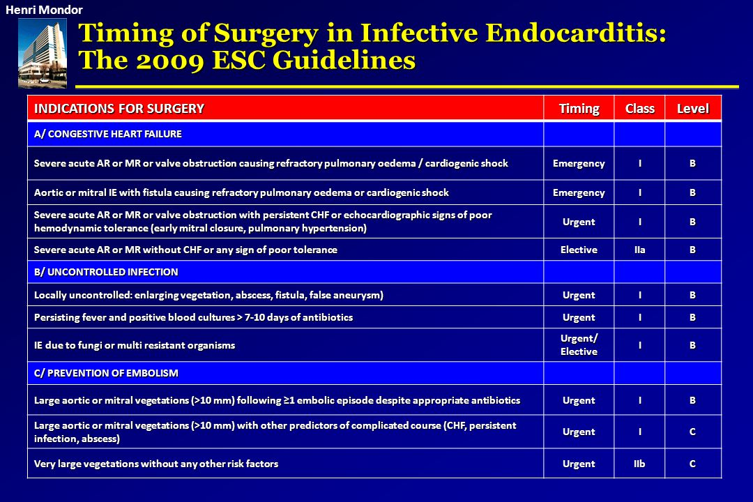 Timing of Surgery in Infective Endocarditis: The 2009 ESC Guidelines