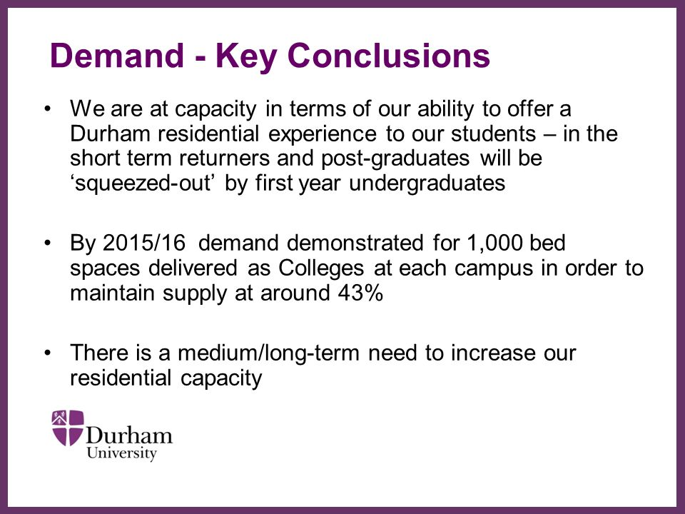 Demand - Key Conclusions