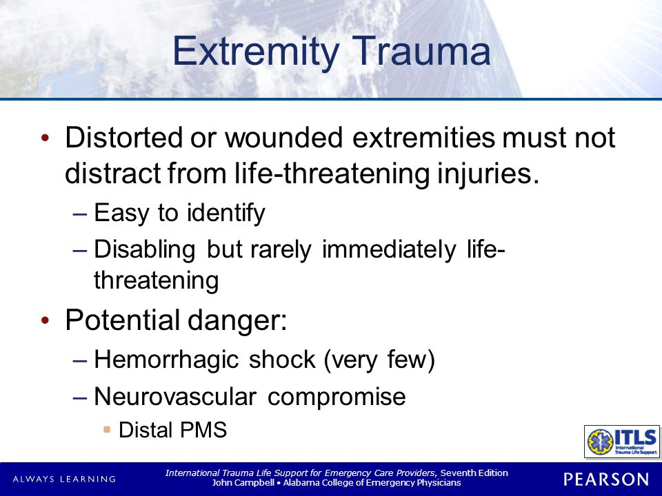 Extremity Trauma Extremity injuries Fractures Dislocations Open wounds