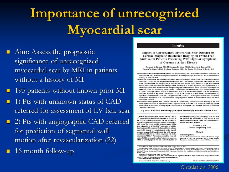 Importance of unrecognized Myocardial scar