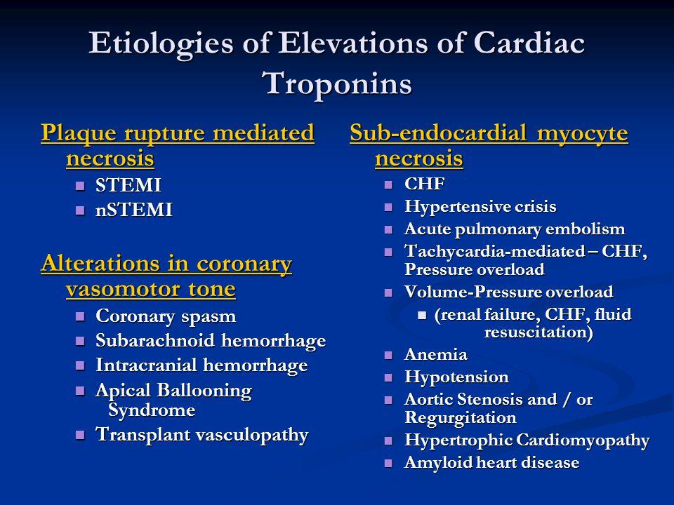 Etiologies of Elevations of Cardiac Troponins