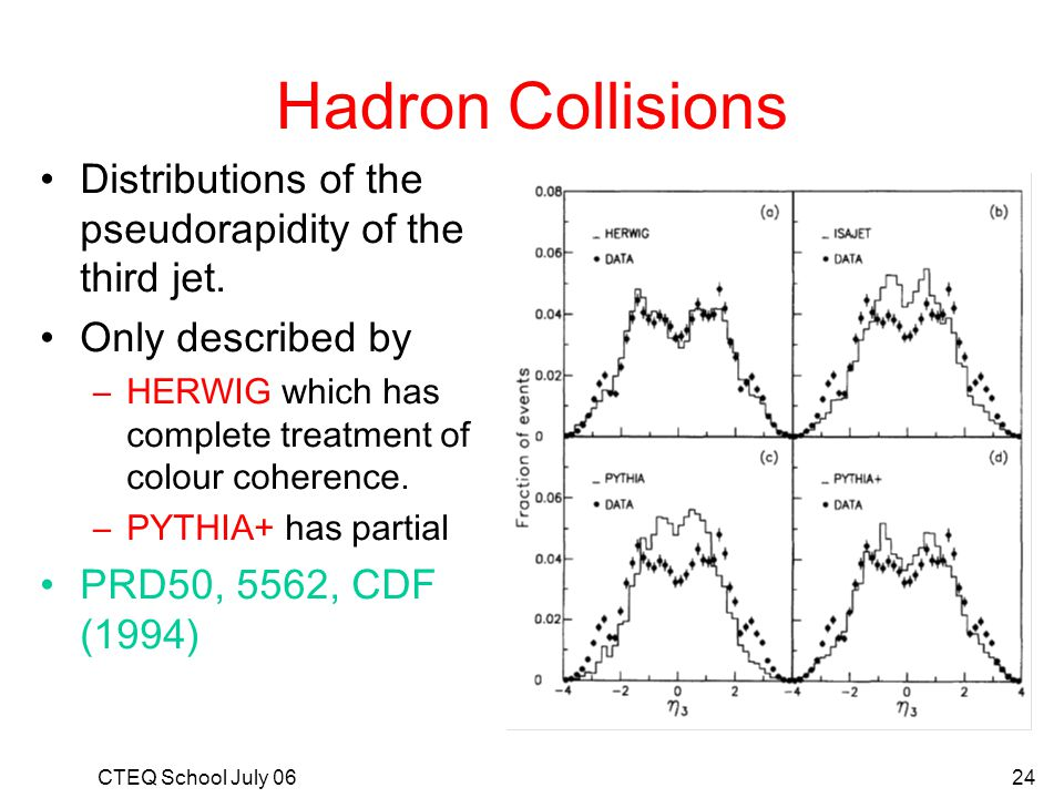 Hadron Collisions Distributions of the pseudorapidity of the third jet. Only described by. HERWIG which has complete treatment of colour coherence.