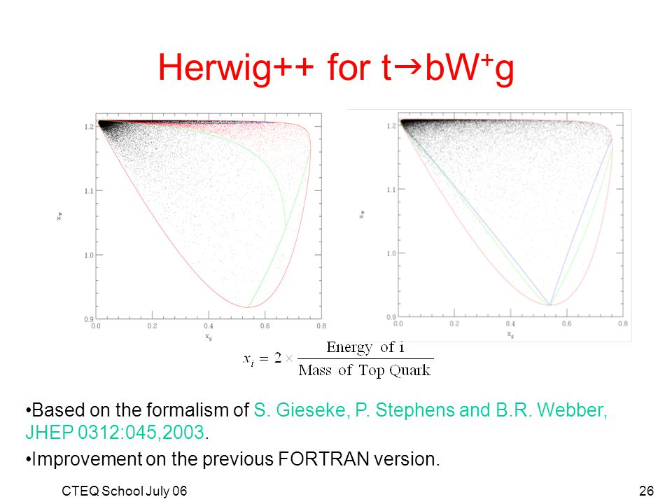Herwig++ for tgbW+g Based on the formalism of S. Gieseke, P. Stephens and B.R. Webber, JHEP 0312:045,2003.