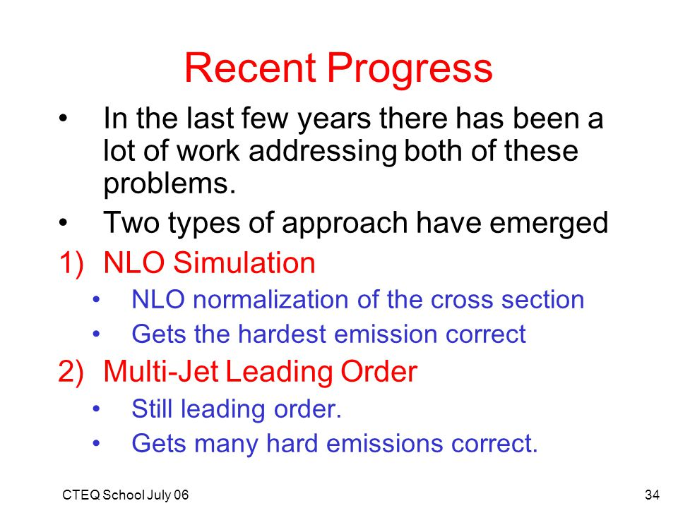 Recent Progress In the last few years there has been a lot of work addressing both of these problems.