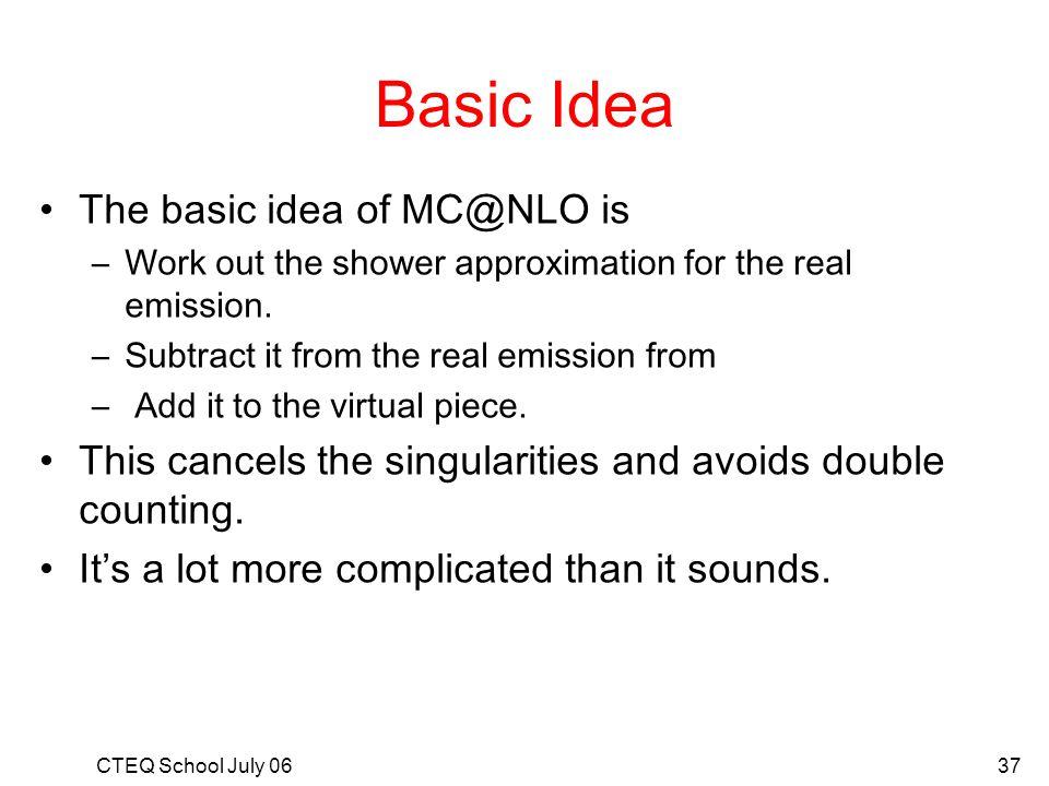 Basic Idea The basic idea of MC@NLO is