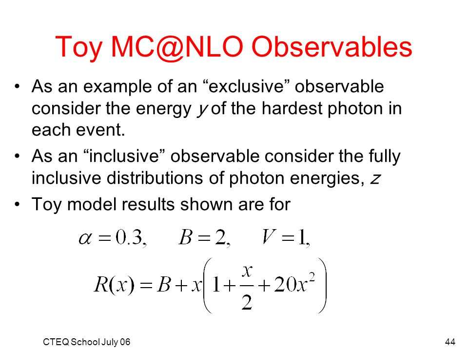 Toy MC@NLO Observables