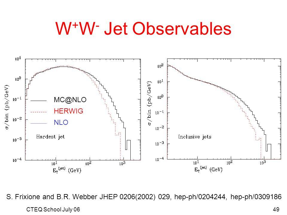 W+W- Jet Observables MC@NLO HERWIG NLO
