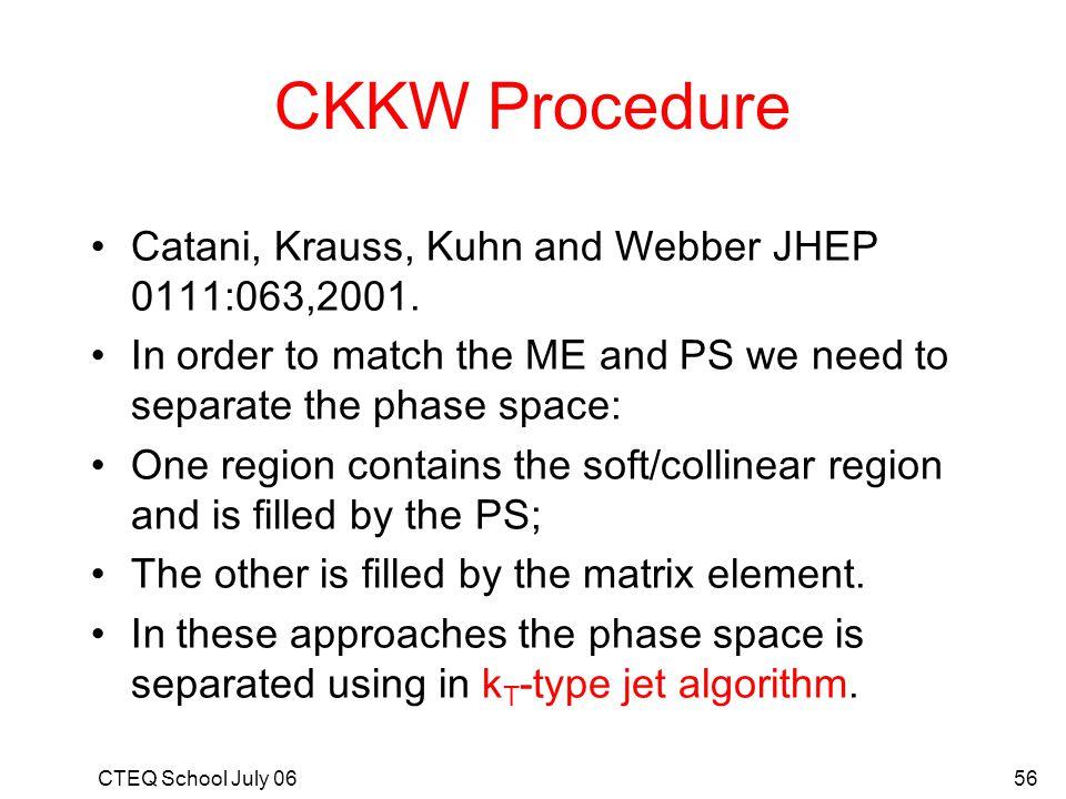 CKKW Procedure Catani, Krauss, Kuhn and Webber JHEP 0111:063,2001.
