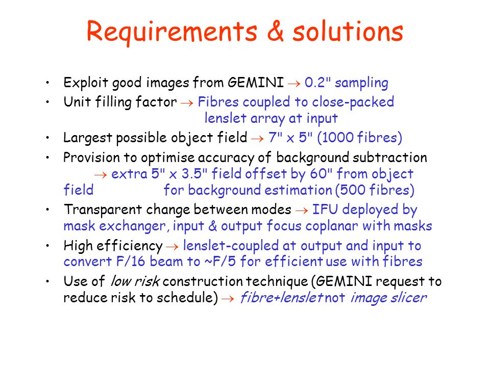 Requirements & solutions