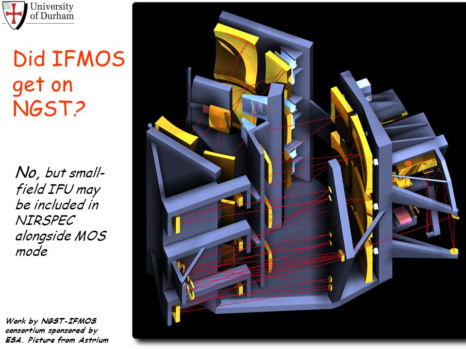 Did IFMOS get on NGST No, but small-field IFU may be included in NIRSPEC alongside MOS mode.