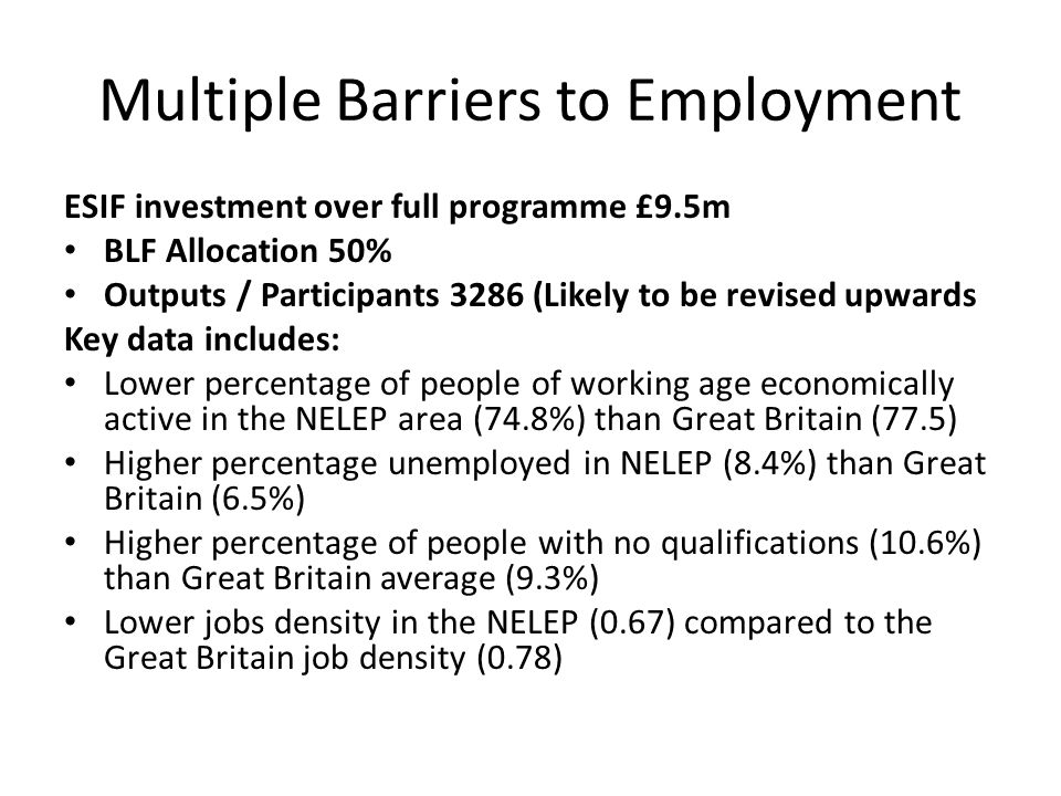 Multiple Barriers to Employment