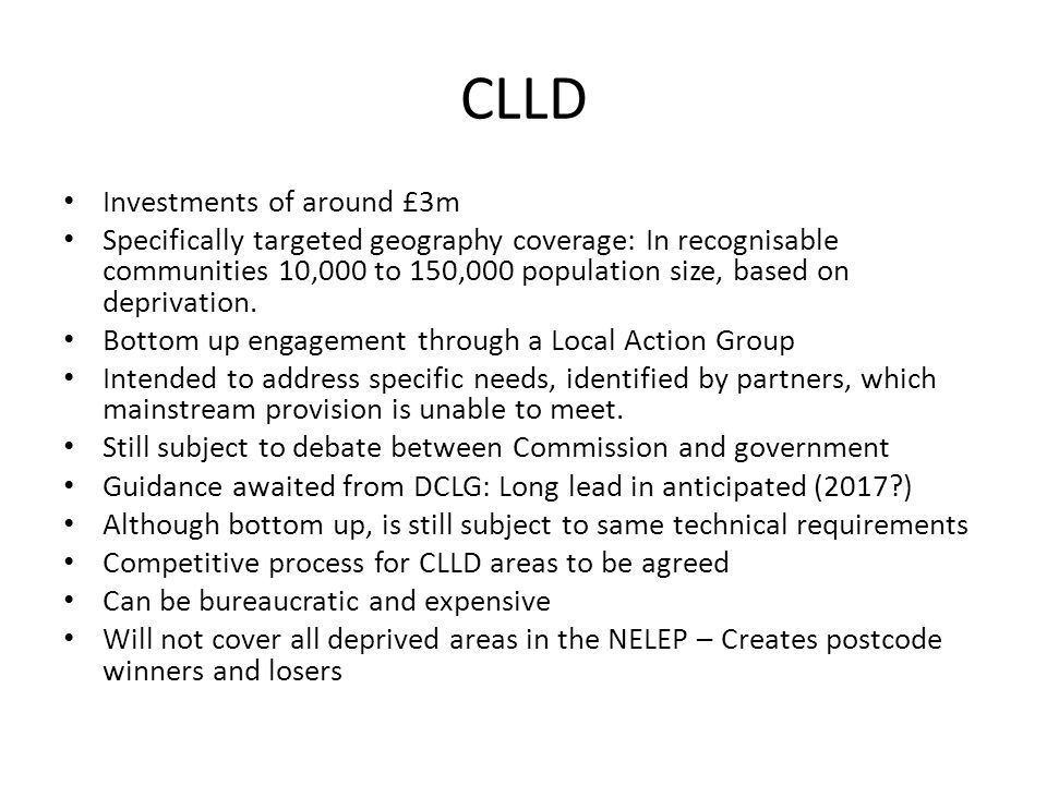 CLLD Investments of around £3m