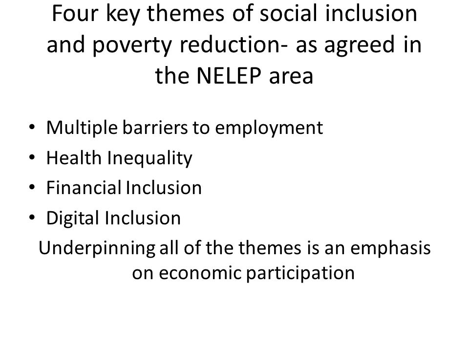 Four key themes of social inclusion and poverty reduction- as agreed in the NELEP area