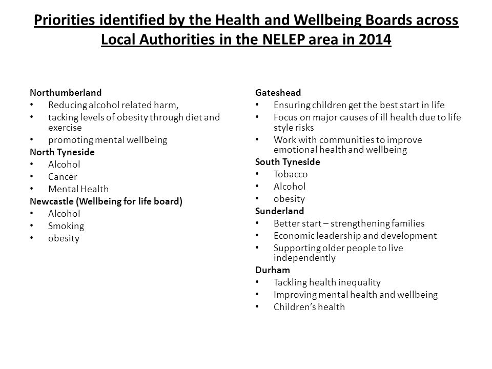 Priorities identified by the Health and Wellbeing Boards across Local Authorities in the NELEP area in 2014