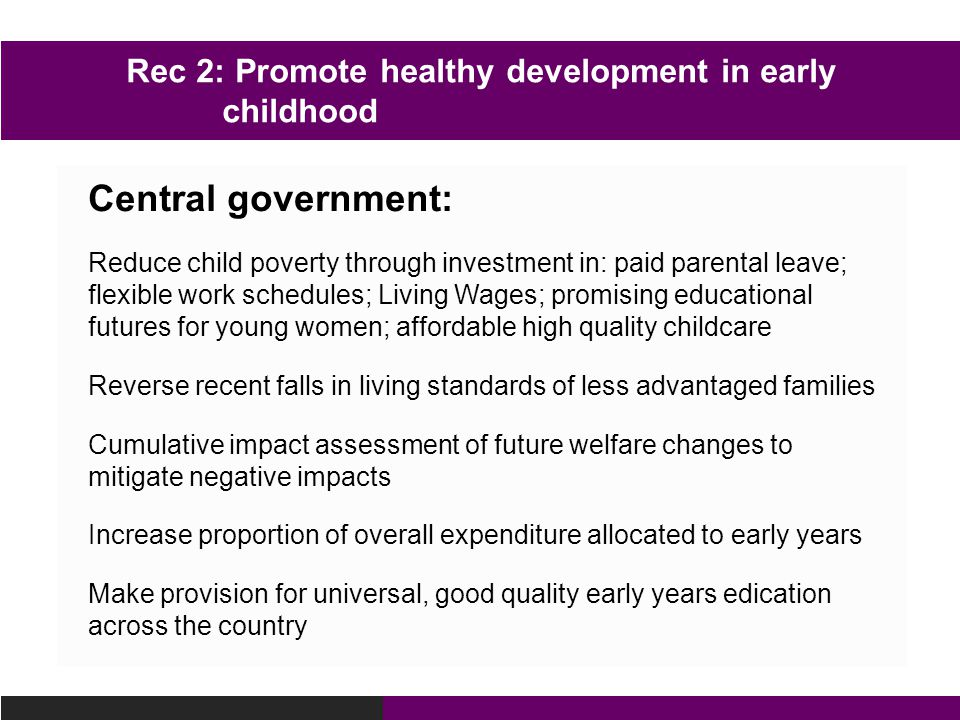 Rec 2: Promote healthy development in early childhood