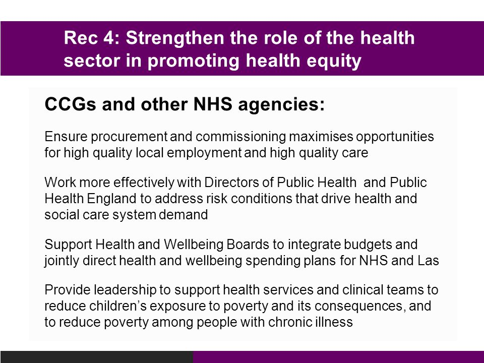 CCGs and other NHS agencies:
