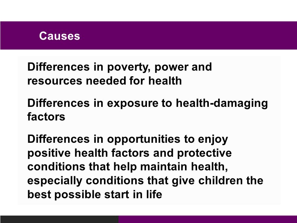 Causes Differences in poverty, power and resources needed for health. Differences in exposure to health-damaging factors.