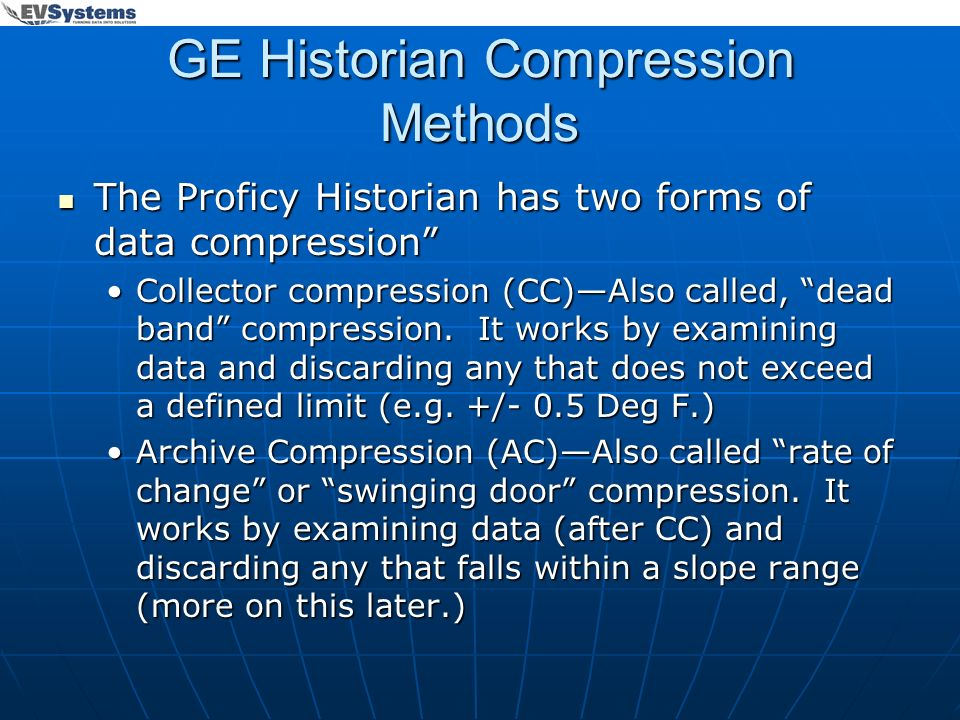 GE Historian Compression Methods