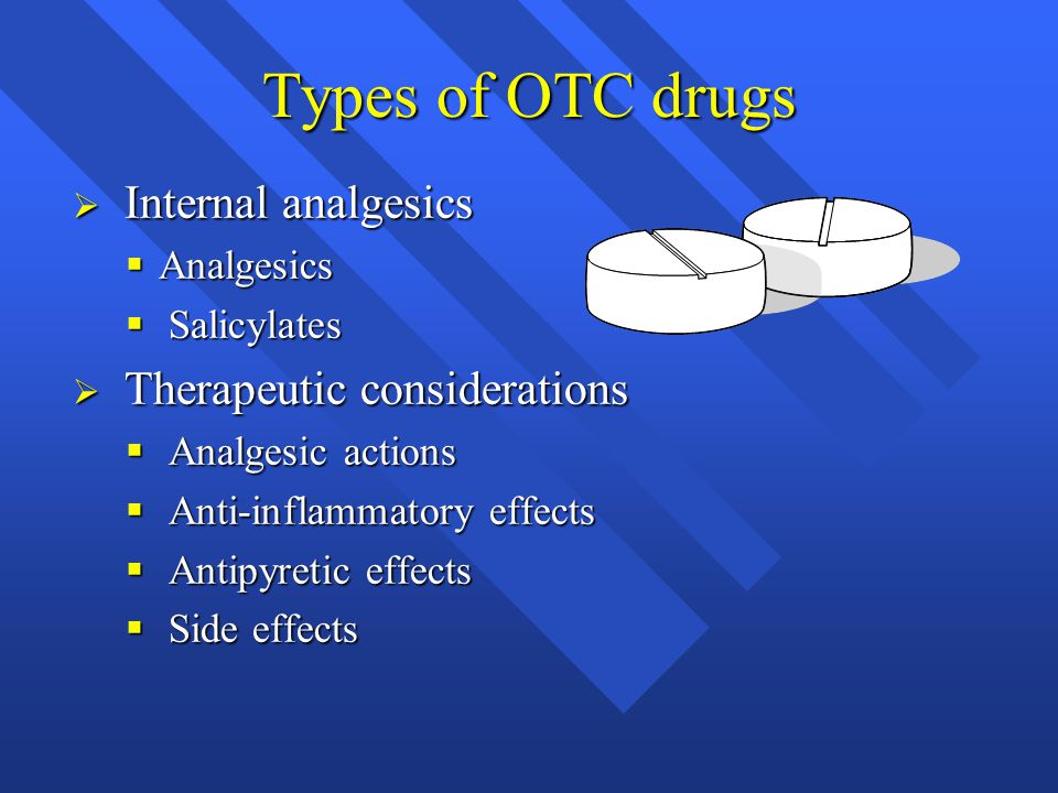 Types of OTC drugs Internal analgesics Therapeutic considerations