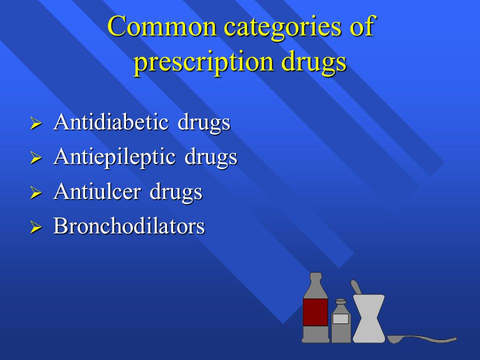 Common categories of prescription drugs