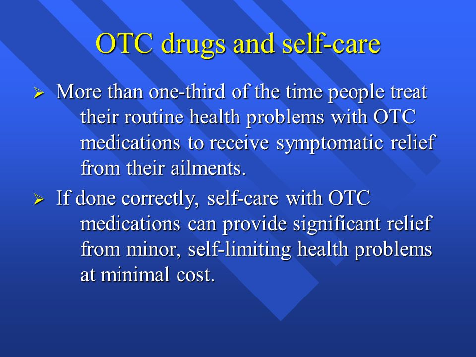 OTC drugs and self-care