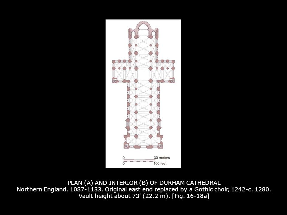 PLAN (A) AND INTERIOR (B) OF DURHAM CATHEDRAL Northern England