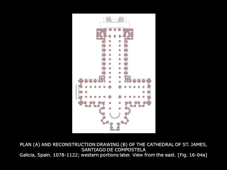 PLAN (A) AND RECONSTRUCTION DRAWING (B) OF THE CATHEDRAL OF ST