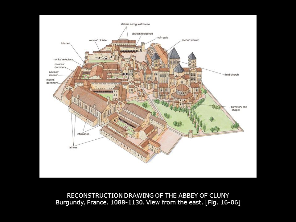 RECONSTRUCTION DRAWING OF THE ABBEY OF CLUNY Burgundy, France