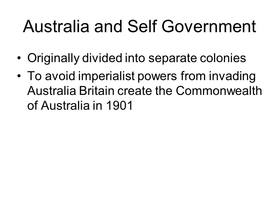 Australia and Self Government