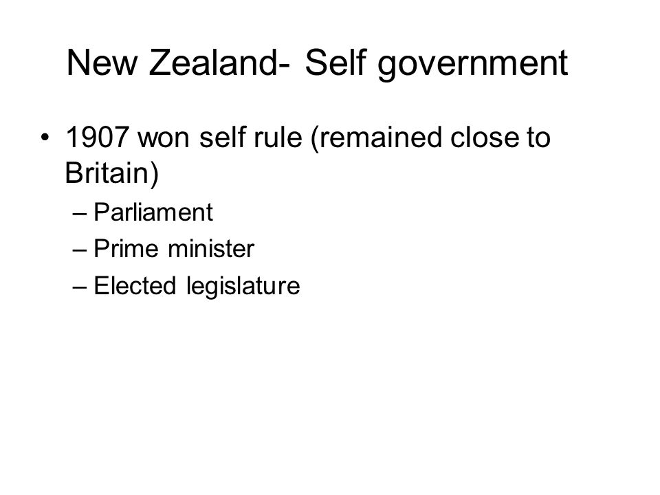 New Zealand- Self government
