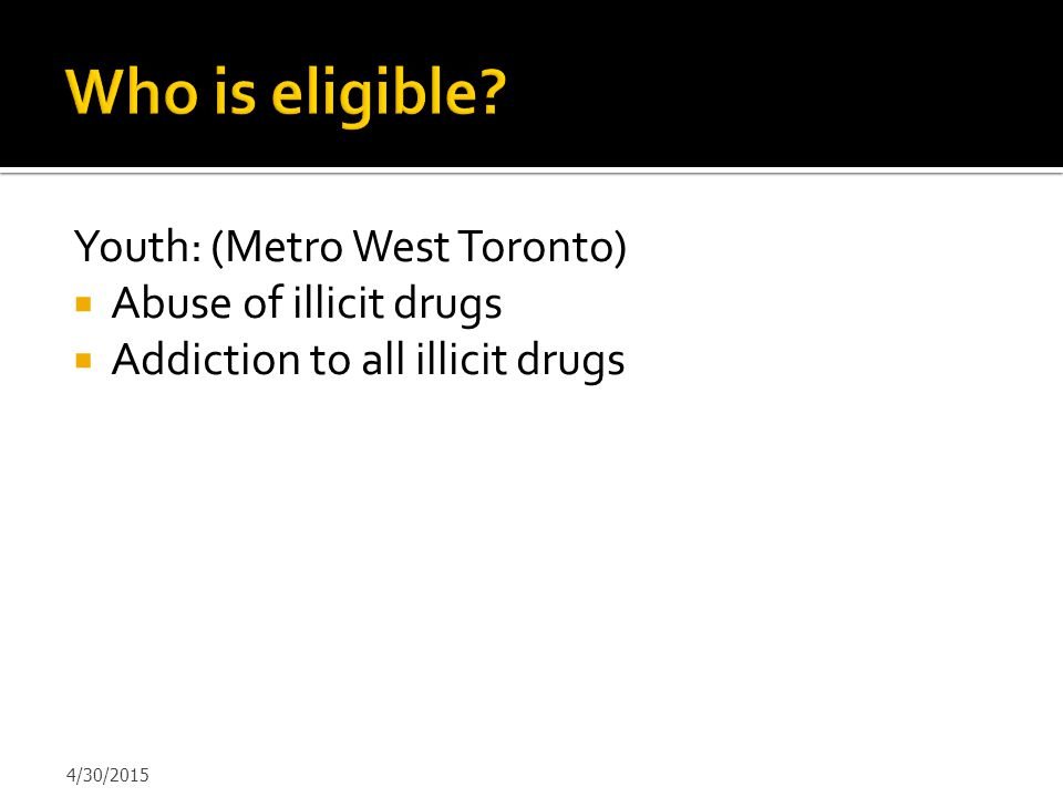 Who is eligible Youth: (Metro West Toronto) Abuse of illicit drugs