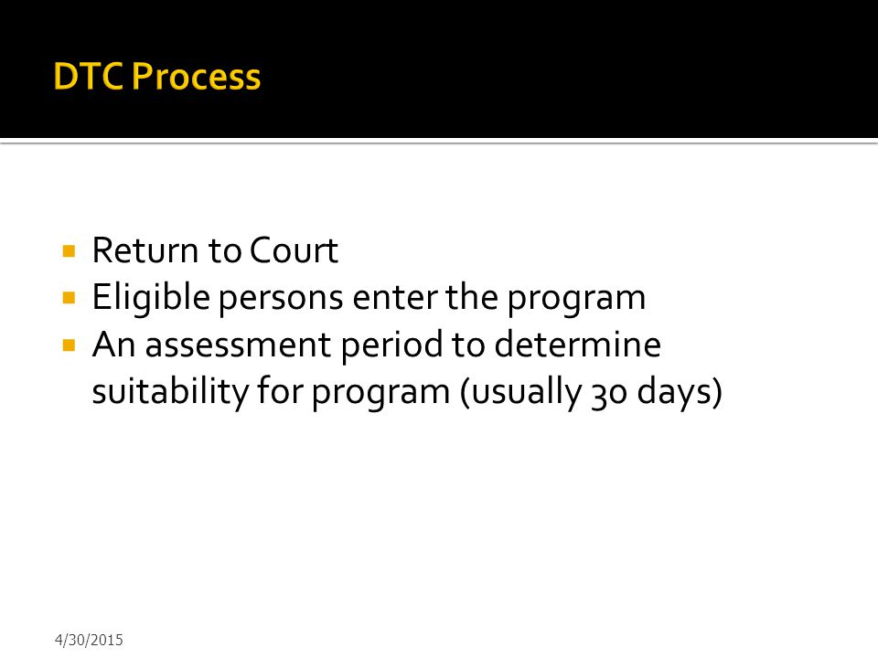 Eligible persons enter the program