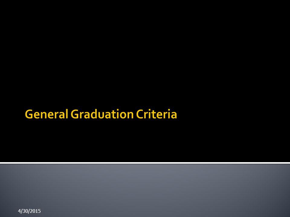 General Graduation Criteria
