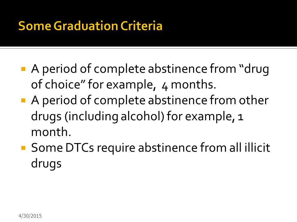 Some Graduation Criteria