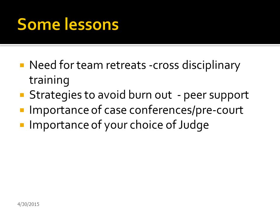 Some lessons Need for team retreats -cross disciplinary training