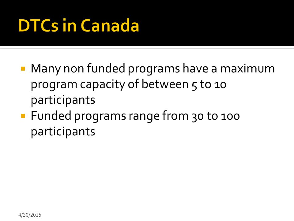 DTCs in Canada Many non funded programs have a maximum program capacity of between 5 to 10 participants.