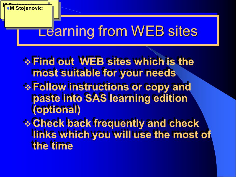 Learning from WEB sites