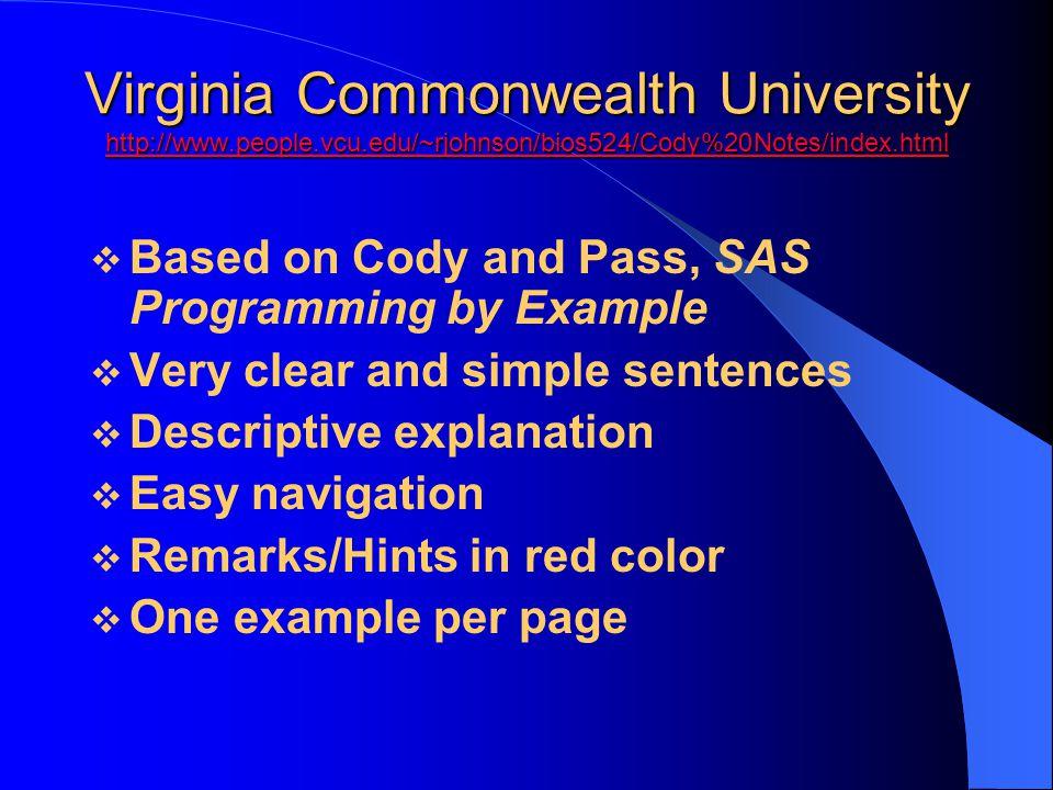 Virginia Commonwealth University http://www. people. vcu