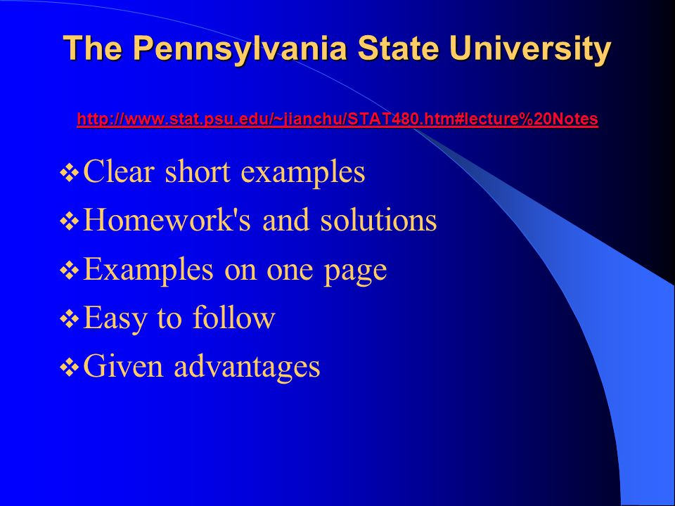 The Pennsylvania State University http://www. stat. psu