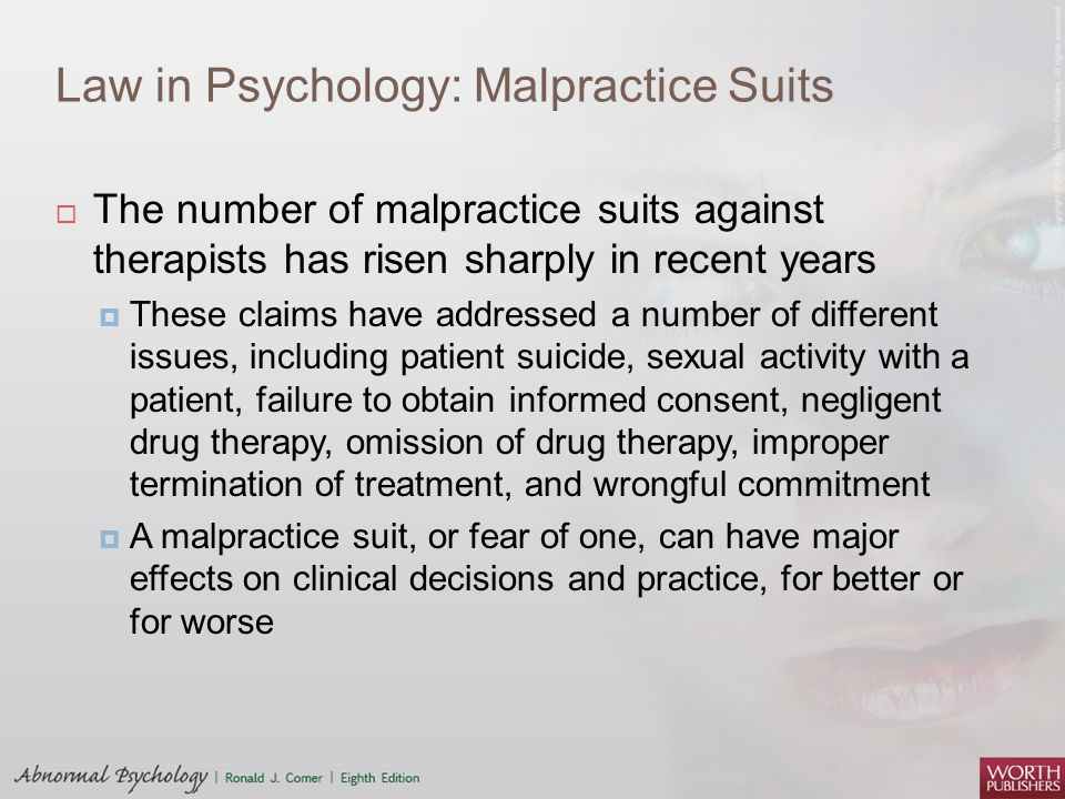 Law in Psychology: Malpractice Suits